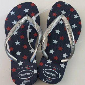 Havaianas Patriotic Stars Flip Flops Kids 10c NWOT
